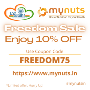 Mynuts Independence Day Sale Offers & Dates : August 2021